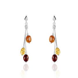 Boucles D'oreilles Pendantes Asmae Argent Blanc Ambre - Boucles d'oreilles fantaisie Femme | Histoire d'Or