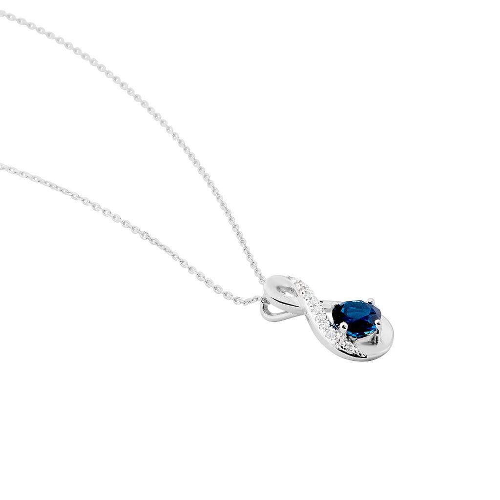 Collier Augusta Or Blanc Topaze Et Oxyde De Zirconium - Colliers Infini Femme | Histoire d'Or