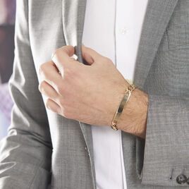 Bracelet Theophene Identite Plaque Or Alternee - Gourmettes Homme | Histoire d'Or