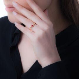 Bague Camilia Or Rose Aigue Marine - Bagues solitaires Femme   Histoire d'Or