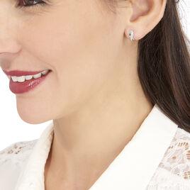 Boucles D'oreilles Puces Izefia Or Blanc Oxyde De Zirconium - Clous d'oreilles Femme   Histoire d'Or