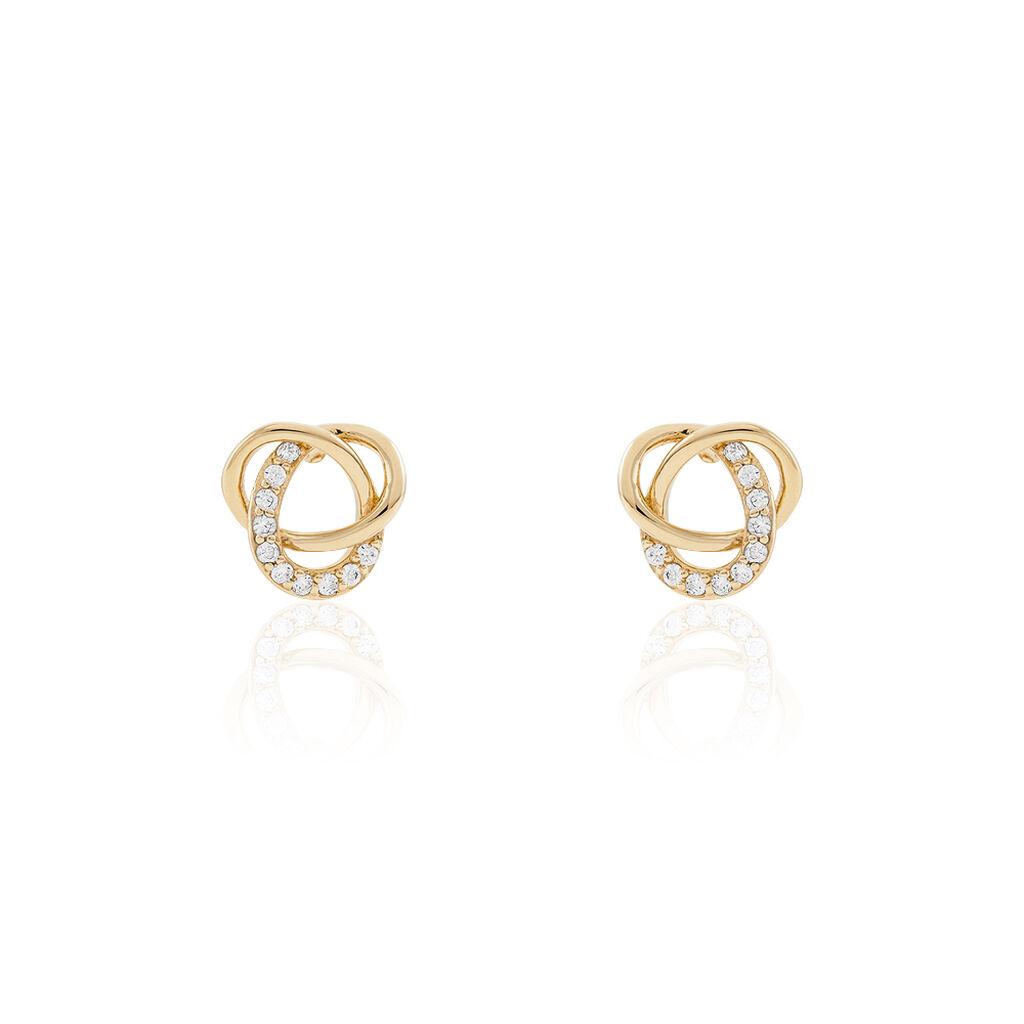 Boucles D'oreilles Puces Henia Plaque Or Jaune Oxyde De Zirconium - Boucles d'oreilles fantaisie Femme | Histoire d'Or