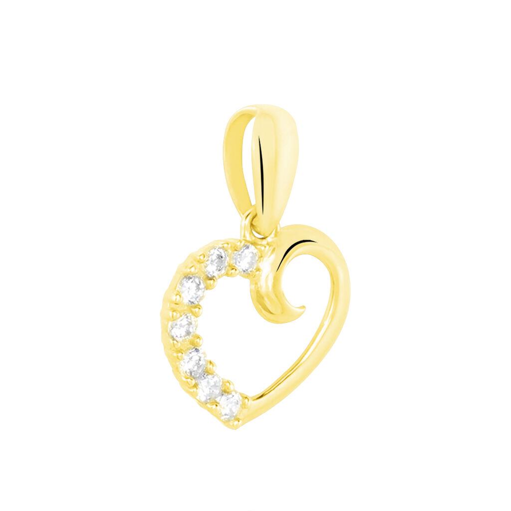 Pendentif Aereda Or Jaune Oxyde De Zirconium - Pendentifs Coeur Femme   Histoire d'Or