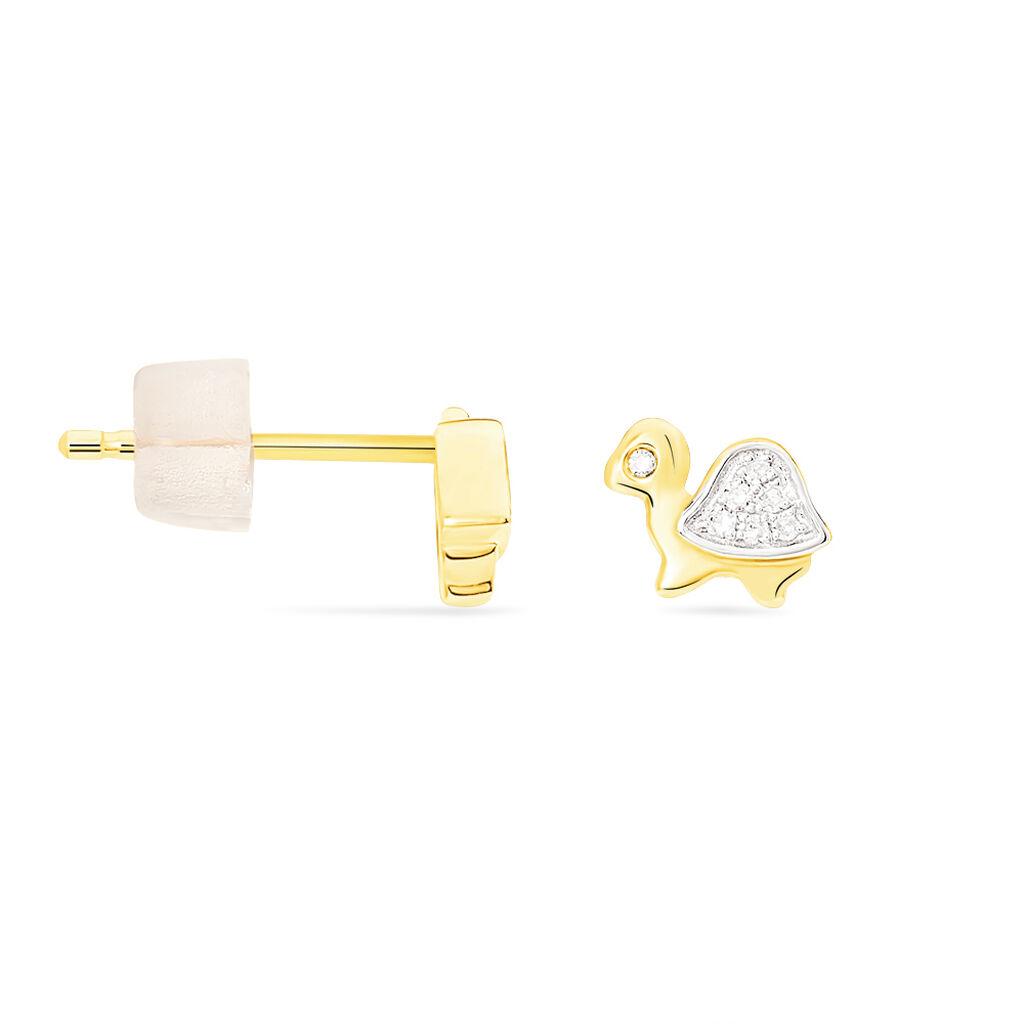 Boucles D'oreilles Puces Or Jaune Diamant - Clous d'oreilles Enfant | Histoire d'Or