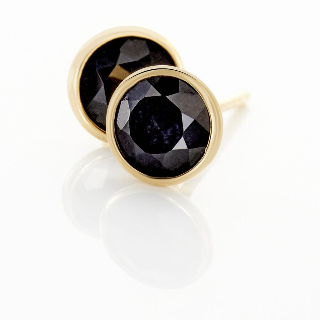 Boucles D'oreilles Puces Edy Serti Clos Or Jaune Saphir - Clous d'oreilles Femme   Histoire d'Or