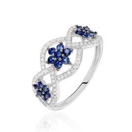 Bague Linaelle Or Blanc Saphir Et Diamant - Bagues avec pierre Femme | Histoire d'Or
