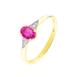 Bague Solitaire Ludmilla Or Jaune Rubis Et Diamant - Bagues solitaires Femme | Histoire d'Or