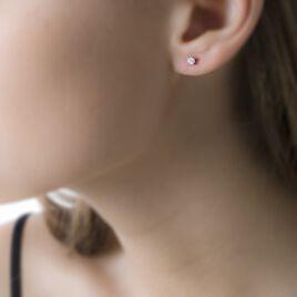 Boucles D'oreilles Puces Collection Victoria Or Blanc Diamant - Clous d'oreilles Femme   Histoire d'Or