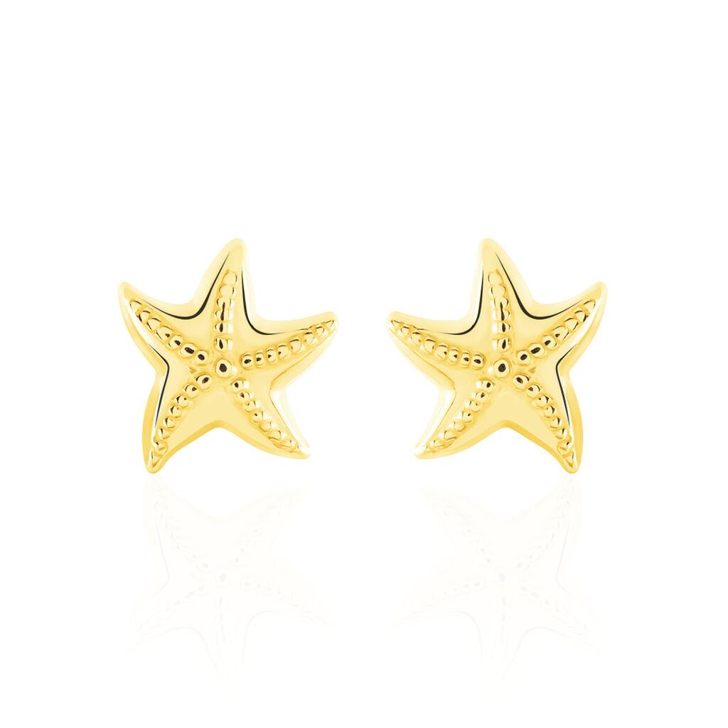 Boucles D'oreilles Puces Alphonsine Etoile De Mer Or Jaune - Boucles d'Oreilles Etoile Femme   Histoire d'Or