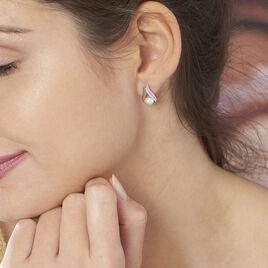 Boucles D'oreilles Argent Puces Perle - Boucles d'oreilles fantaisie Femme | Histoire d'Or