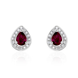 Boucles D'oreilles Puces Elheme Or Blanc Rubis Et Diamant - Clous d'oreilles Femme | Histoire d'Or