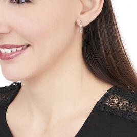 Boucles D'oreilles Or Blanc Feuille Oxyde - Boucles d'Oreilles Plume Femme   Histoire d'Or