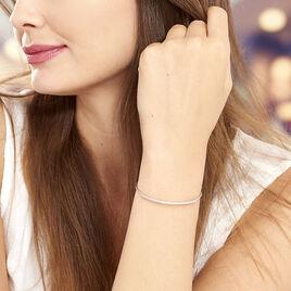 Bracelet Jonc Cléline Argent Blanc - Bracelets fantaisie Femme   Histoire d'Or