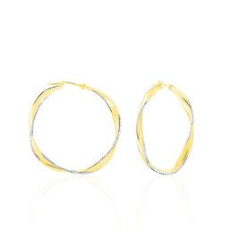 Créoles Ayah Diamantees Fil Vrille Or Bicolore - Boucles d'oreilles créoles Femme | Histoire d'Or