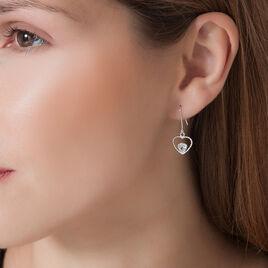 Boucles D'oreilles Puces Or Blanc Oxyde De Zirconium - Boucles d'oreilles pendantes Femme   Histoire d'Or