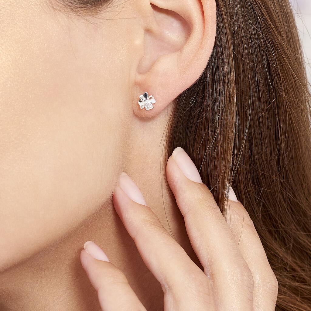 Boucles D'oreilles Puces Luce Argent Blanc Oxyde De Zirconium - Boucles d'Oreilles Trèfle Femme   Histoire d'Or