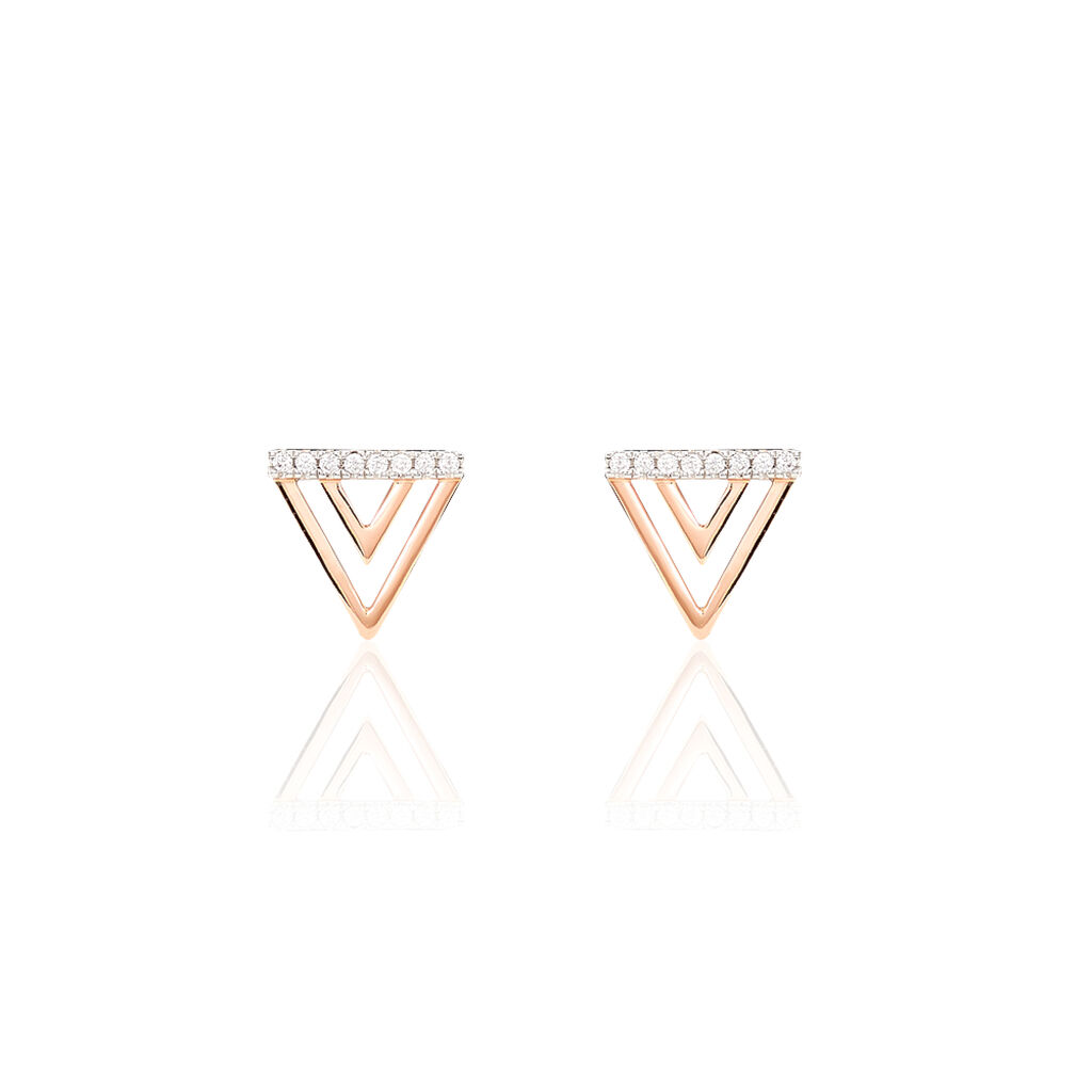 Boucles D'oreilles Puces Dania Or Rose Oxyde De Zirconium - Clous d'oreilles Femme | Histoire d'Or