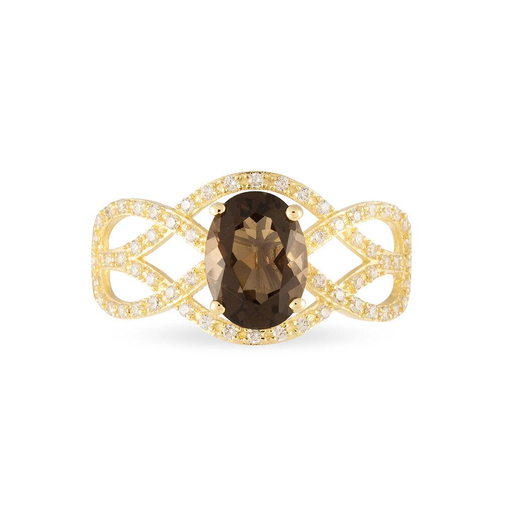 Bague Or Jaune Tina Quartz Fume Central - Bagues avec pierre Femme | Histoire d'Or
