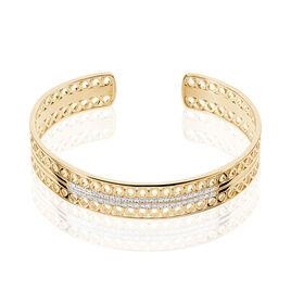 Bracelet Jonc Solena Plaque Or Jaune Oxyde De Zirconium - Bracelets joncs Femme | Histoire d'Or
