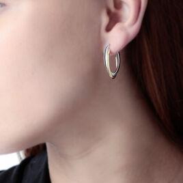 Créoles Tita Croisees Ovales Fils Lisses Or Bicolore - Boucles d'oreilles créoles Femme | Histoire d'Or