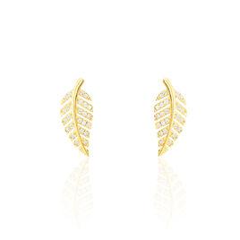 Boucles D'oreilles Puces Tourkia Or Jaune Oxyde De Zirconium - Boucles d'Oreilles Plume Femme | Histoire d'Or