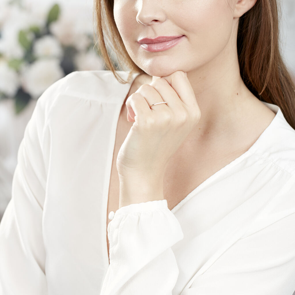 Alliance Pristina Or Rose Diamant - Alliances Femme   Histoire d'Or