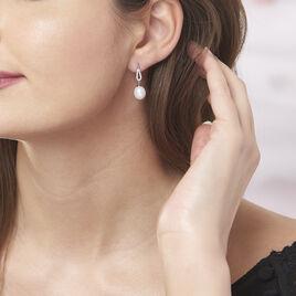 Boucles D'oreilles Pendantes Ludy Argent Perle De Culture Et Oxyde - Boucles d'oreilles fantaisie Femme | Histoire d'Or