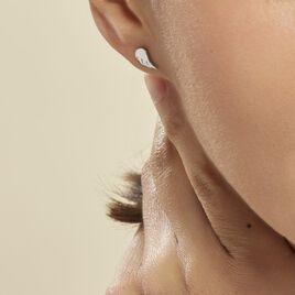 Boucles D'oreilles Puces Kayli Argent Blanc - Boucles d'oreilles fantaisie Femme   Histoire d'Or