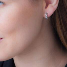 Boucles D'oreilles Puces Roberte Or Blanc Diamant - Clous d'oreilles Femme | Histoire d'Or