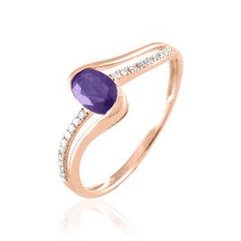 Bague Anja Or Rose Amethyste Et Diamant - Bagues avec pierre Femme | Histoire d'Or