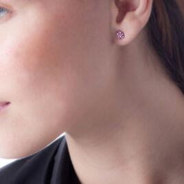 Boucles D'oreilles Puces Mellissa Or Jaune Pierre De Synthese - Clous d'oreilles Femme | Histoire d'Or