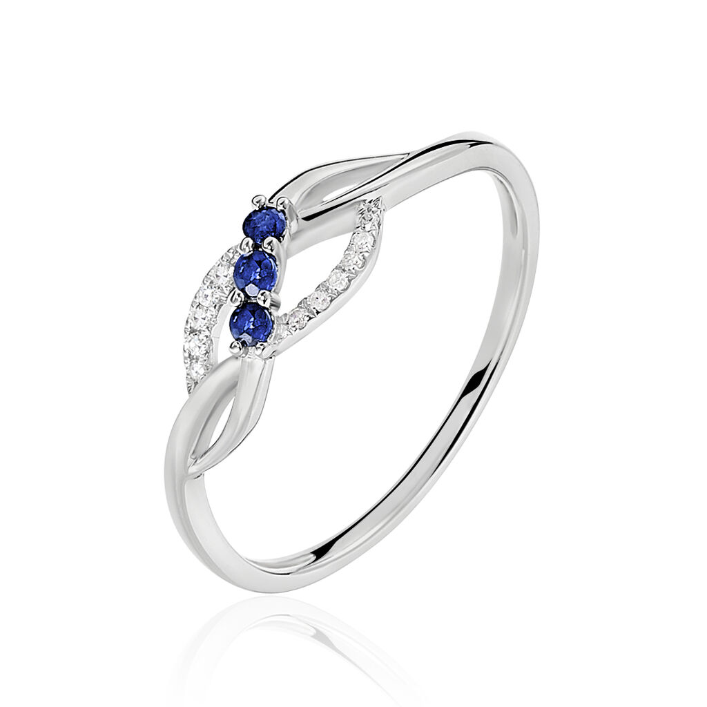 Bague Rosalyne Or Blanc Saphir Et Diamant - Bagues avec pierre Femme | Histoire d'Or