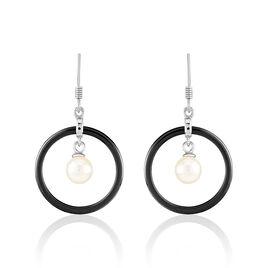 Boucles D'oreilles Pendantes Argent Céramique Et Perle De Culture - Boucles d'oreilles fantaisie Femme | Histoire d'Or