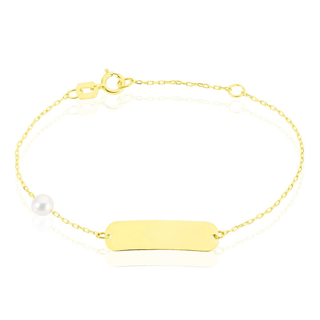 Bracelet Identité Helee Or Jaune Perle De Culture - Bracelets Communion Enfant   Histoire d'Or