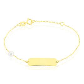 Bracelet Identité Helee Or Jaune Perle De Culture - Bracelets Communion Enfant | Histoire d'Or
