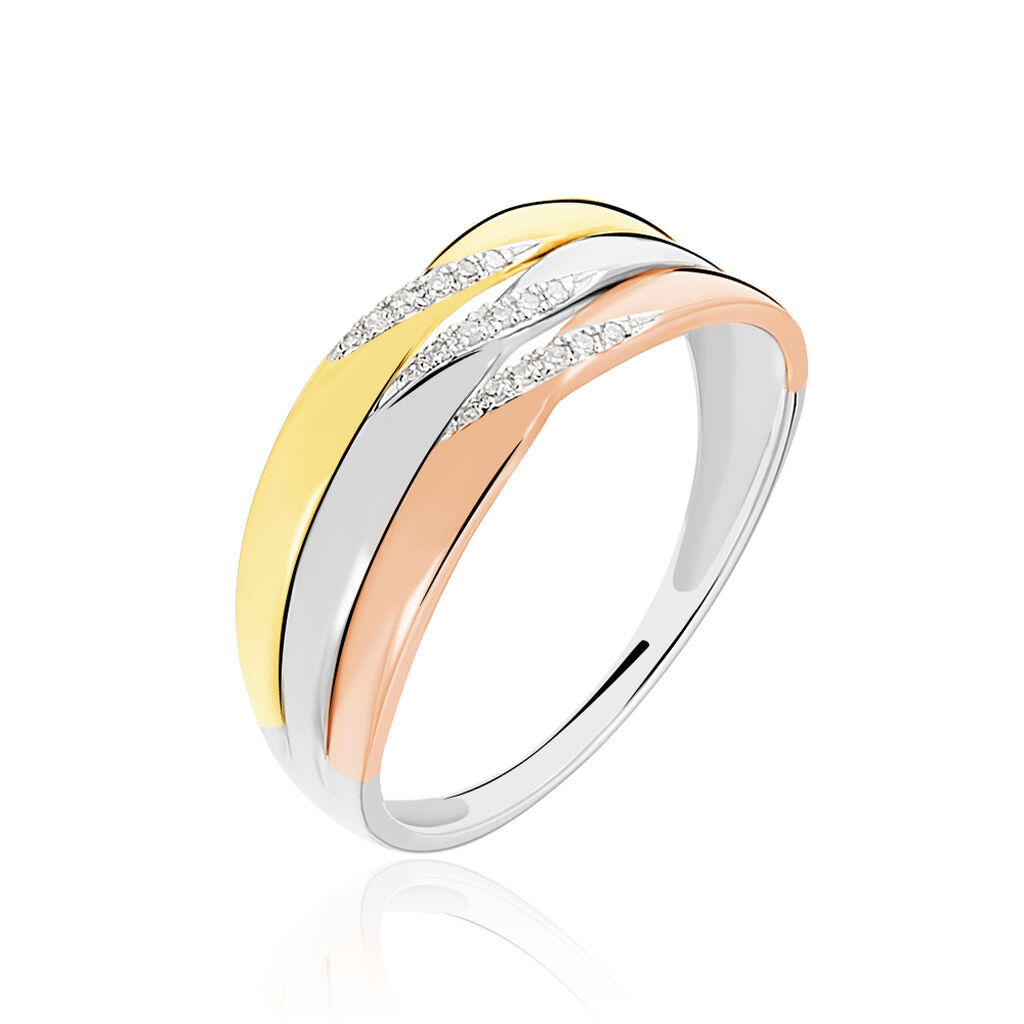 Bague Nesibe Or Tricolore Diamant - Bagues avec pierre Femme | Histoire d'Or