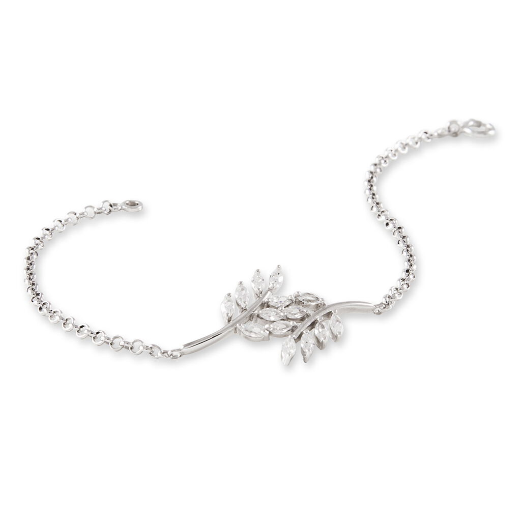 Bracelet Ble Argent Blanc Oxyde De Zirconium - Bracelets Plume Femme | Histoire d'Or