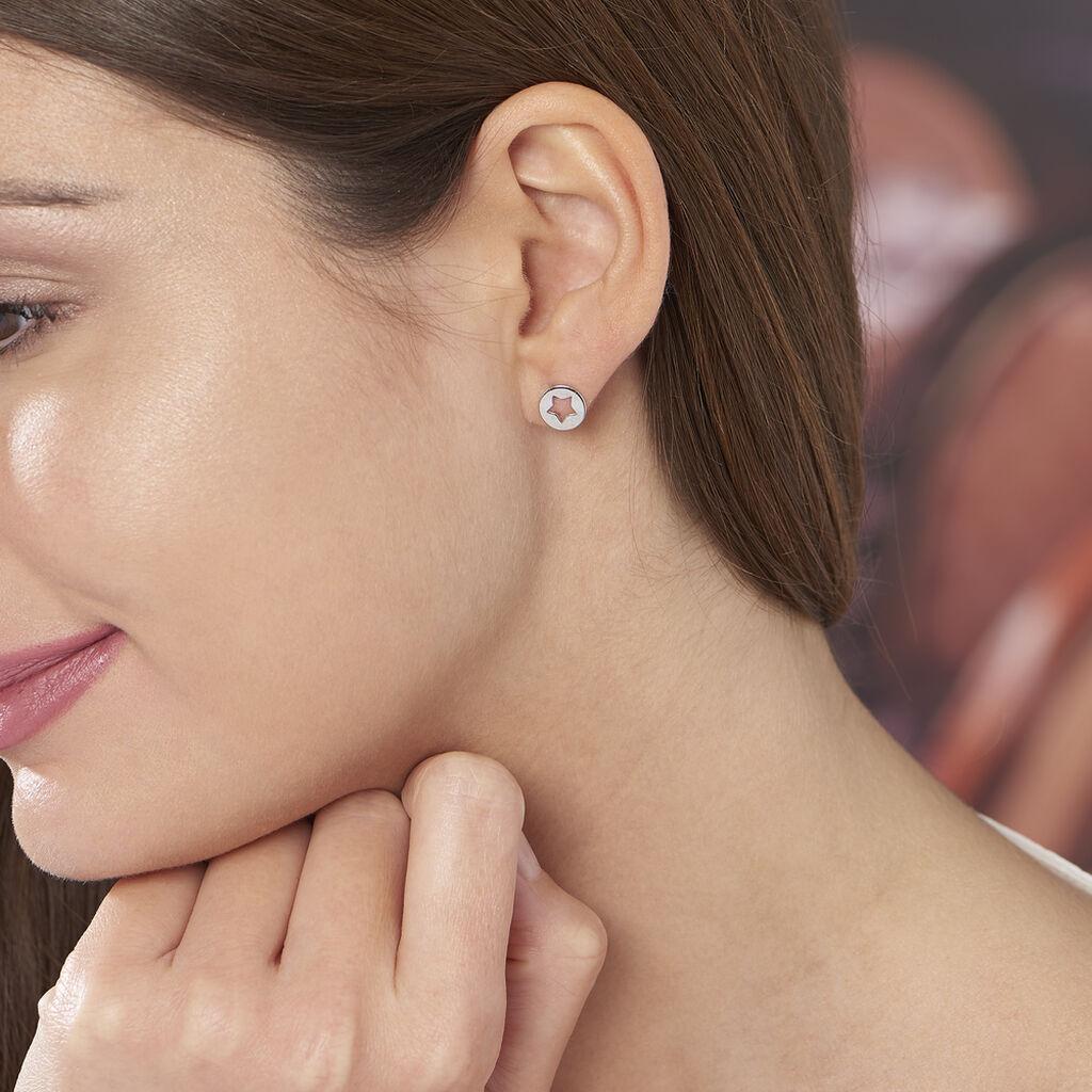 Boucles D'oreilles Puces Elenza Argent Blanc - Boucles d'Oreilles Etoile Femme   Histoire d'Or