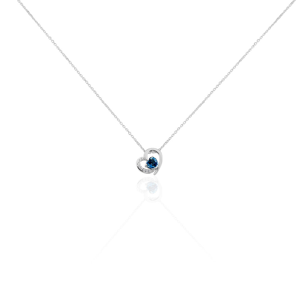 Collier Or Blanc Eliana Topaze Oxydes - Colliers Coeur Femme | Histoire d'Or