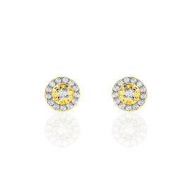 Boucles D'oreilles Puces Elisea Or Jaune Oxyde De Zirconium - Clous d'oreilles Femme | Histoire d'Or