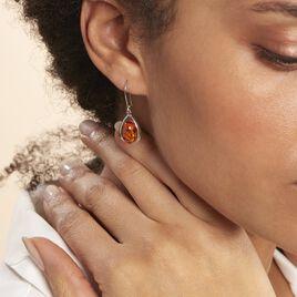 Boucles D'oreilles Pendantes Hilda Argent Blanc Ambre - Boucles d'oreilles fantaisie Femme | Histoire d'Or