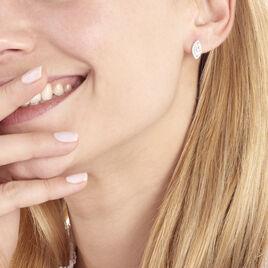 Boucles D'oreilles Puces Arone Argent Blanc Oxyde De Zirconium - Boucles d'oreilles fantaisie Femme | Histoire d'Or