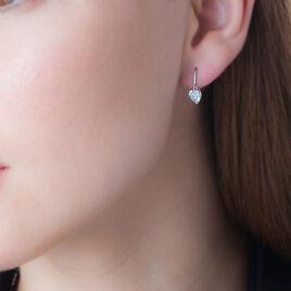 Boucles D'oreilles Pendantes Giuniata Or Blanc Oxyde De Zirconium - Boucles d'Oreilles Coeur Femme   Histoire d'Or
