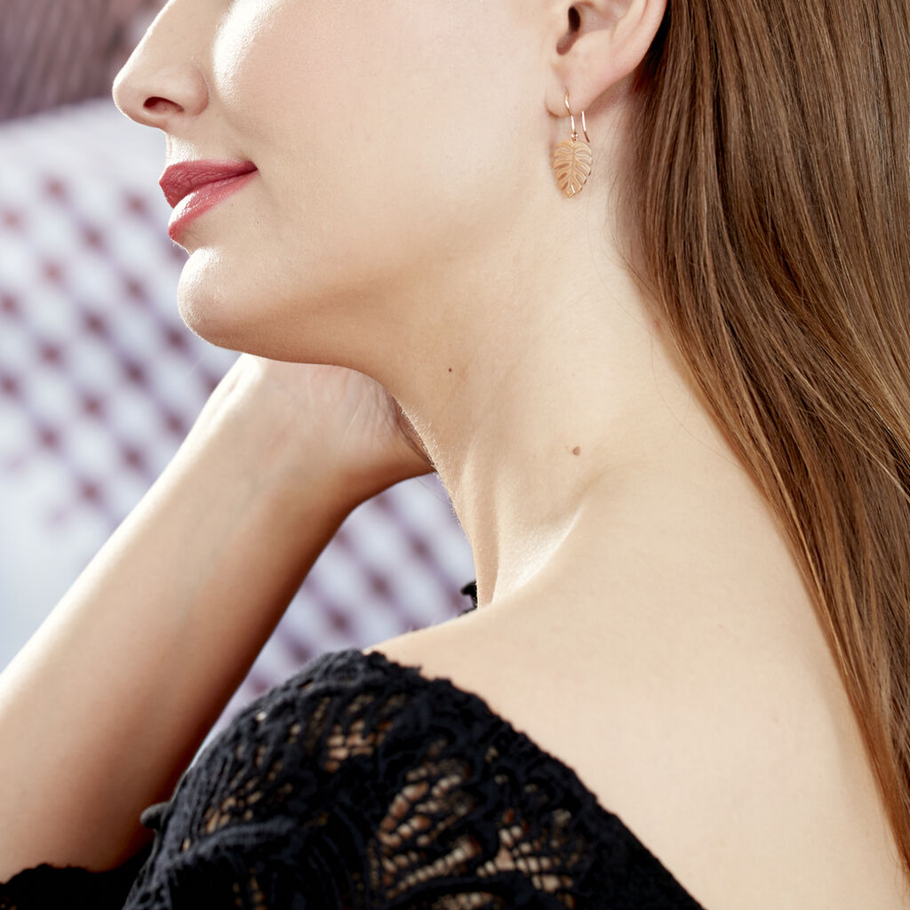 Boucles D'oreilles Pendantes Zoelle Argent Rose - Boucles d'Oreilles Plume Femme   Histoire d'Or
