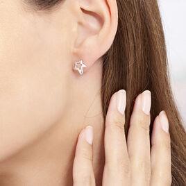 Boucles D'oreilles Puces Alphonsine Etoile De Mer Or Blanc - Boucles d'Oreilles Etoile Femme | Histoire d'Or
