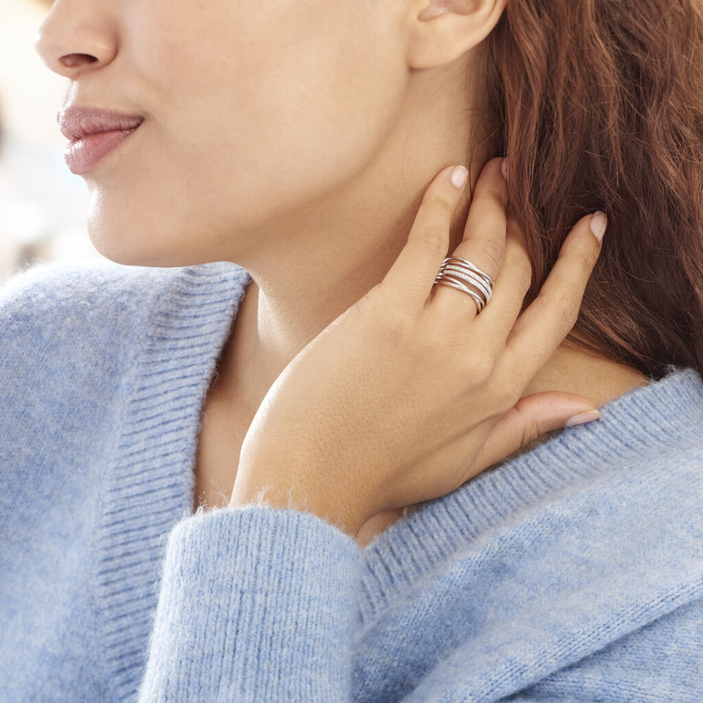Bague Giseleae Or Blanc Diamant - Bagues avec pierre Femme | Histoire d'Or