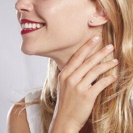 Boucles D'oreilles Puces Natalia Pl Platine Blanc Diamant - Clous d'oreilles Femme   Histoire d'Or