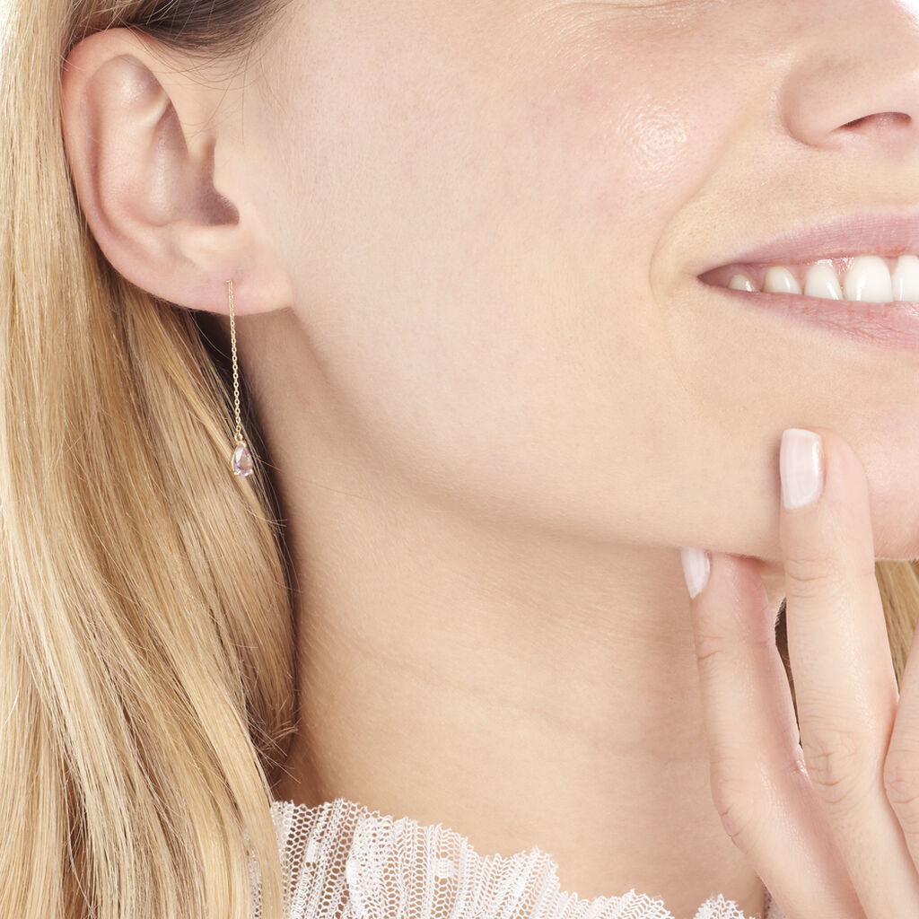 Boucles D'oreilles Pendantes Kaimana Or Jaune Amethyste - Boucles d'oreilles pendantes Femme   Histoire d'Or
