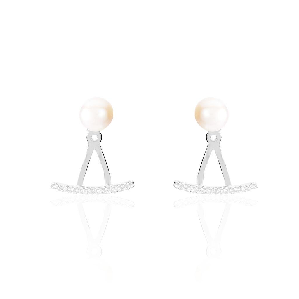 Bijoux D'oreilles Sylviane Argent Perle De Culture Et Oxyde - Boucles d'oreilles fantaisie Femme   Histoire d'Or
