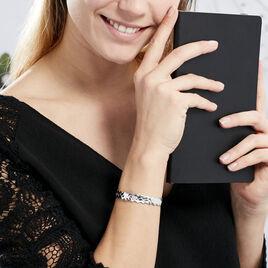 Bracelet Jonc Cylia Argent Blanc - Bracelets Trèfle Femme | Histoire d'Or